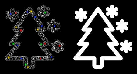 Glossy mesh winter tree icon with lightspot effect. Abstract illuminated model of winter tree. Shiny wire carcass triangular mesh winter tree icon. Vector abstraction on a black background.
