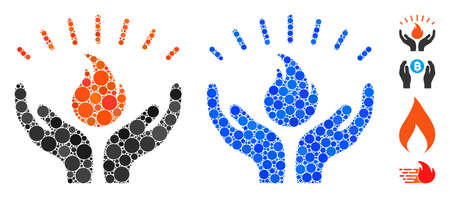 Fire care hands mosaic of filled circles in variable sizes and color tints, based on fire care hands icon. Vector small circles are grouped into blue mosaic.