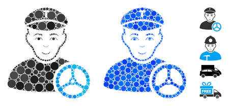 Taxi driver mosaic of filled circles in variable sizes and color tints, based on taxi driver icon. Vector filled circles are grouped into blue composition. Illustration