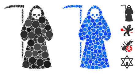 Scytheman mosaic of round dots in various sizes and color tinges, based on scytheman icon. Vector round dots are grouped into blue mosaic. Dotted scytheman icon in usual and blue versions.