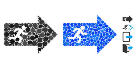 Exit arrow composition of small circles in variable sizes and shades, based on exit arrow icon. Vector filled circles are organized into blue composition.