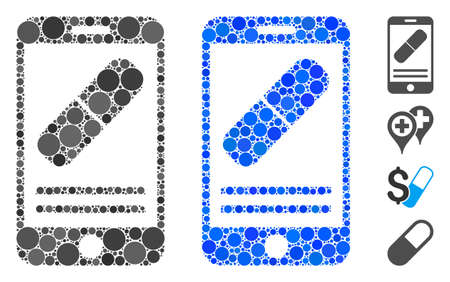 Mobile drugstore mosaic of circle elements in different sizes and color tinges, based on mobile drugstore icon. Vector circle elements are united into blue mosaic.