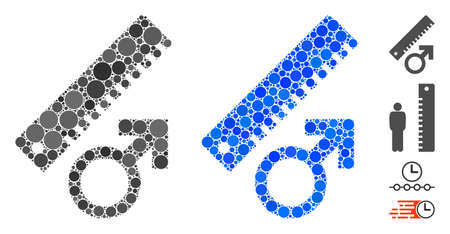 Penis measure composition of spheric dots in different sizes and color hues, based on penis measure icon. Vector dots are grouped into blue illustration.