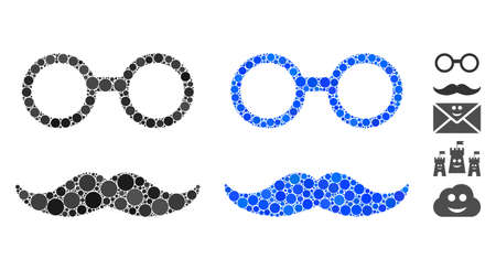 Grandfather smiley composition of round dots in different sizes and color hues, based on grandfather smiley icon. Vector round dots are grouped into blue collage.
