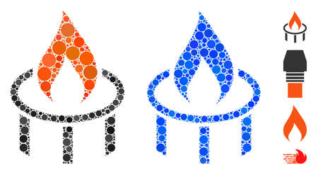 Burner nozzle flame mosaic of filled circles in different sizes and color tinges, based on burner nozzle flame icon. Vector filled circles are combined into blue mosaic. Vector Illustration