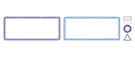 Double rounded rectangle frame mosaic of circle elements in variable sizes and color tones, based on double rounded rectangle frame icon. Vector circle elements are organized into blue composition.