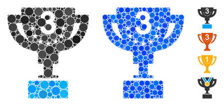 Third prize cup composition of circle elements in different sizes and color tones, based on third prize cup icon. Vector circle elements are combined into blue collage.