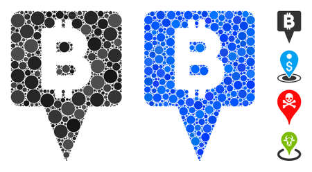 Bitcoin map pointer mosaic of round dots in different sizes and color tones, based on Bitcoin map pointer icon. Vector round dots are combined into blue mosaic.