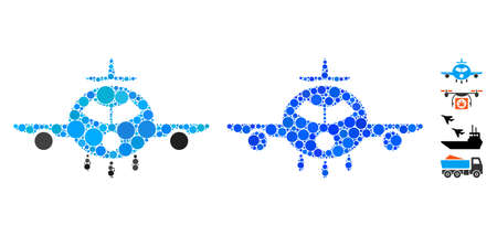 Cargo aircraft composition of filled circles in various sizes and color hues, based on cargo aircraft icon. Vector round elements are united into blue composition.