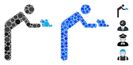 Servant person composition of round dots in different sizes and color tones, based on servant person icon. Vector round dots are composed into blue mosaic.