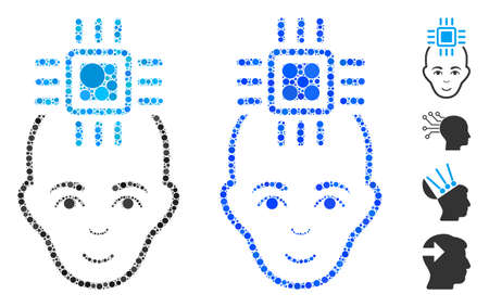 Neural computer interface composition of circle elements in various sizes and color tones, based on neural computer interface icon. Vector round elements are combined into blue composition. Illustration