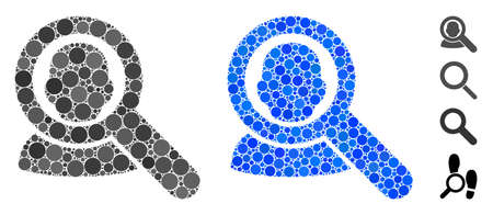 Find user composition of filled circles in variable sizes and color hues, based on find user icon. Vector random circles are united into blue composition.