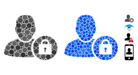 Locked user composition of round dots in different sizes and shades, based on locked user icon. Vector round dots are organized into blue composition.