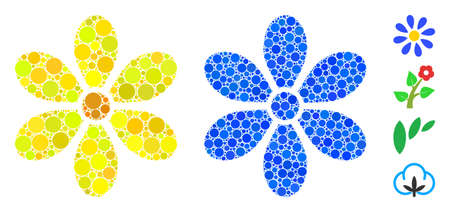 Flower composition of round dots in different sizes and shades, based on flower icon. Vector round elements are composed into blue composition. Dotted flower icon in usual and blue versions.