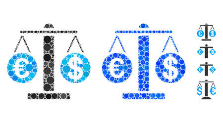 Euro and Dollar scales composition of filled circles in different sizes and color tinges, based on Euro and Dollar scales icon. Vector filled circles are united into blue composition.