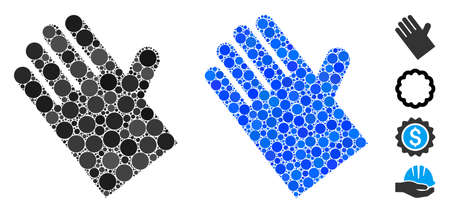Rubber glove mosaic of filled circles in different sizes and color tints, based on rubber glove icon. Vector filled circles are composed into blue composition.