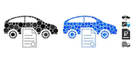 Car sale contract mosaic of small circles in different sizes and color hues, based on car sale contract icon. Vector filled circles are composed into blue mosaic.