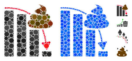 Shit fall down chart mosaic of circle elements in various sizes and color hues, based on shit fall down chart icon. Vector dots are grouped into blue mosaic.