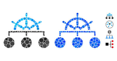 Mosaïque de hiérarchie de roue de navire d'éléments de cercle de différentes tailles et teintes de couleur, basée sur l'icône de hiérarchie de roue de navire. Les éléments du cercle vectoriel sont composés en illustration bleue.