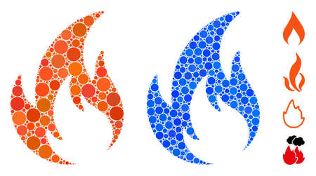 Flame mosaic of filled circles in variable sizes and color hues, based on flame icon. Vector random circles are grouped into blue mosaic. Dotted flame icon in usual and blue versions. Иллюстрация
