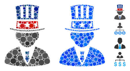 American capitalist composition of filled circles in variable sizes and color tinges, based on American capitalist icon. Vector small circles are combined into blue composition.