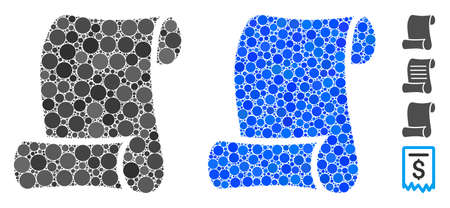 Paper roll mosaic of circle elements in various sizes and color hues, based on paper roll icon. Vector circle elements are composed into blue illustration.