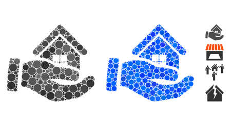 Realty offer hand mosaic of filled circles in different sizes and color tinges, based on realty offer hand icon. Vector filled circles are composed into blue composition.