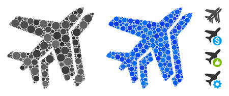 Airlines composition of circle elements in variable sizes and color tinges, based on airlines icon. Vector circle elements are combined into blue illustration.