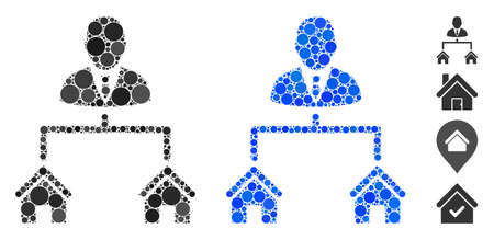 Realty manager mosaic of small circles in variable sizes and shades, based on realty manager icon. Vector small circles are grouped into blue composition.