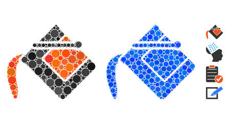Flood fill mosaic of small circles in different sizes and color hues, based on flood fill icon. Vector small circles are combined into blue illustration.