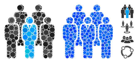 Staff composition of small circles in different sizes and shades, based on staff icon. Vector small circles are combined into blue collage. Dotted staff icon in usual and blue versions.