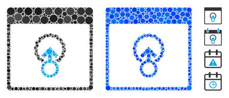 Cell penetration calendar page composition of small circles in various sizes and color tones, based on cell penetration calendar page icon. Vector filled circles are organized into blue composition.