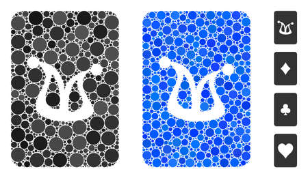 Joker gaming card mosaic of round dots in different sizes and color tones, based on joker gaming card icon. Vector round dots are composed into blue mosaic.