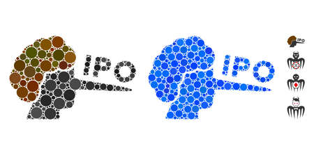 IPO liar mosaic of filled circles in variable sizes and color tinges, based on IPO liar icon. Vector filled circles are composed into blue illustration.