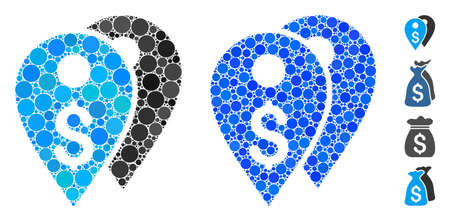 Dollar bank marks mosaic of circle elements in variable sizes and color tinges, based on dollar bank marks icon. Vector random circles are grouped into blue mosaic.