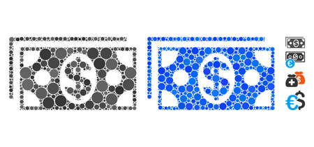 Dollar banknotes mosaic of spheric dots in different sizes and shades, based on dollar banknotes icon. Vector round dots are organized into blue mosaic. Illustration