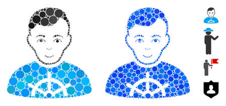 Captain mosaic of filled circles in variable sizes and color tones, based on captain icon. Vector filled circles are combined into blue composition. Dotted captain icon in usual and blue versions. Çizim