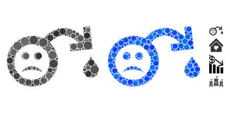 Sad impotence composition of round dots in variable sizes and color tones, based on sad impotence icon. Vector round elements are combined into blue composition.