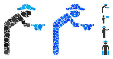 Gentleman beggar composition of filled circles in variable sizes and color tinges, based on gentleman beggar icon. Vector small circles are grouped into blue composition.