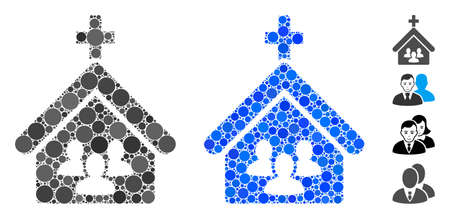 Church people composition of small circles in different sizes and color tones, based on church people icon. Vector filled circles are combined into blue composition. Çizim