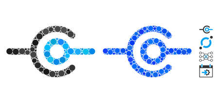 Wire connection composition of filled circles in different sizes and shades, based on wire connection icon. Vector random circles are combined into blue composition. Ilustração