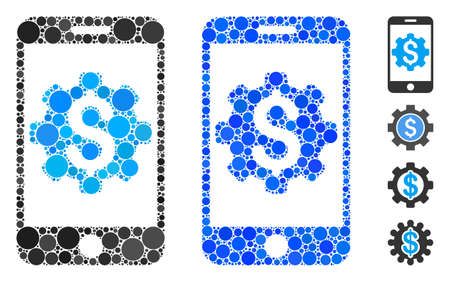 Mobile bank setup mosaic of circle elements in various sizes and color tinges, based on mobile bank setup icon. Vector circle elements are composed into blue collage.