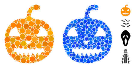 Halloween pumpkin mosaic of circle elements in different sizes and color tints, based on halloween pumpkin icon. Vector circle elements are organized into blue mosaic. Иллюстрация