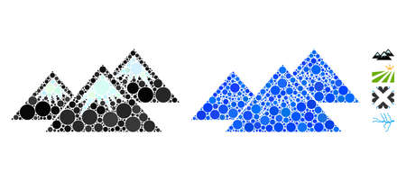 Ice cap mountains composition of spheric dots in different sizes and color tinges, based on ice cap mountains icon. Vector dots are organized into blue composition.