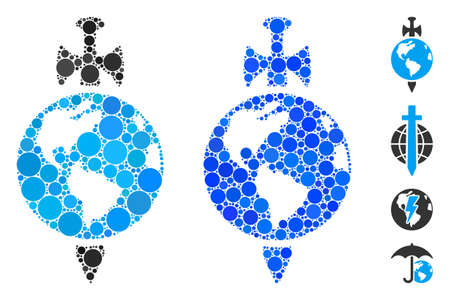 Earth guard composition of circle elements in various sizes and shades, based on Earth guard icon. Vector round elements are composed into blue composition.
