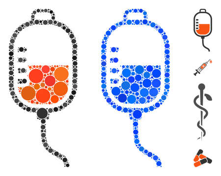 Therapy dropper composition of spheric dots in various sizes and color tinges, based on therapy dropper icon. Vector small circles are grouped into blue composition.