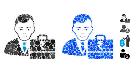 Rupee accounter composition of round dots in different sizes and shades, based on rupee accounter icon. Vector round dots are united into blue collage. Illustration