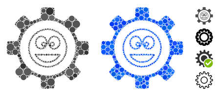 Service gear happy smile composition of round dots in different sizes and color tinges, based on service gear happy smile icon. Vector round elements are grouped into blue composition.