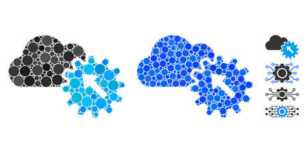 Integration mosaic of round dots in different sizes and color hues, based on integration icon. Vector round dots are composed into blue mosaic. Dotted integration icon in usual and blue versions.