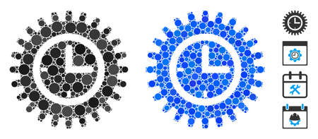 Time options composition of small circles in various sizes and color hues, based on time options icon. Vector small circles are grouped into blue mosaic.